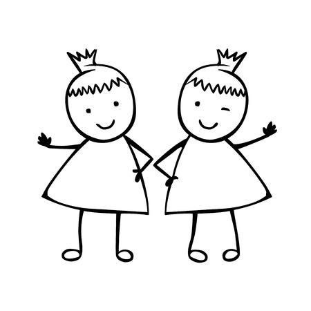 Ragazze gemelle. sorelle. Persone vettoriali lineari nello stile dei bambini Vettoriali