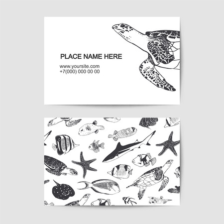 Visit card with sea and ocean inhabitants. Vector template Illustration