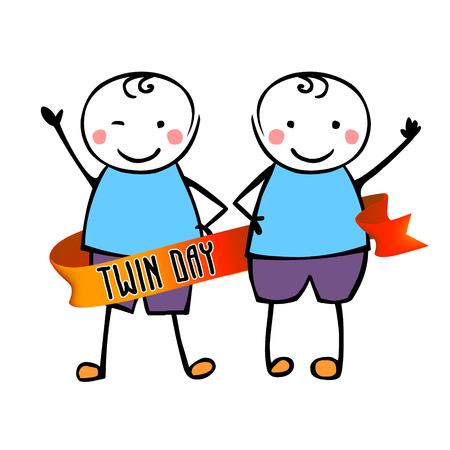 Twin day. Congratilation card with flat vector people in the children's style 矢量图像