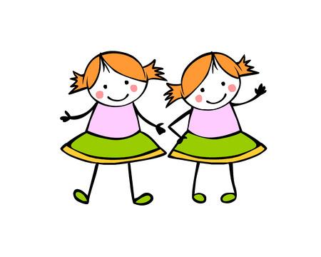 Twins Girls. Sisters. Flat vector people in the children's style Vektoros illusztráció