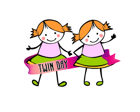 Twins day. Congratulation card with flat vector people in the children's style