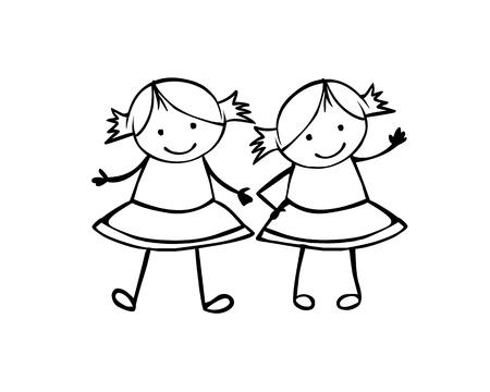 Zwillinge Mädchen. Schwestern. Lineare Vektorleute im Kinderstil Vektorgrafik