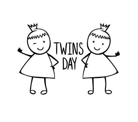 쌍둥이의 날. 어린이 스타일의 선형 벡터 소녀와 축하 카드