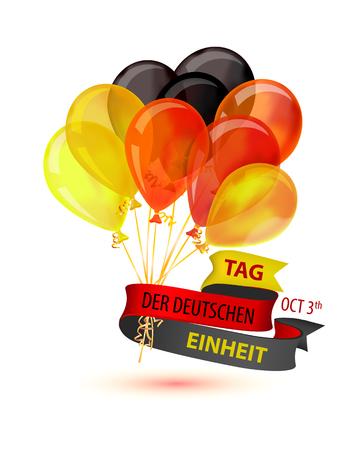 Tag der Deutschen Einheit. Oktober 3. Inscription in German: Day of german unity. Vector greeting card with balloons