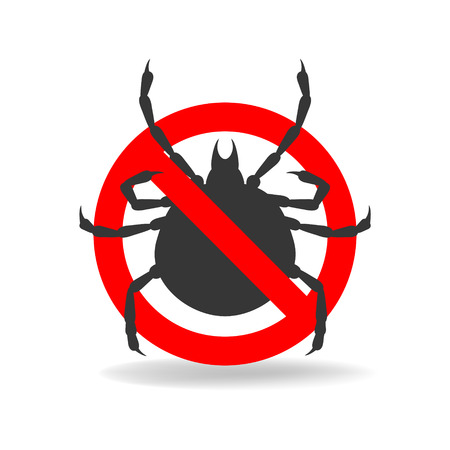 Anti tick simple sign for insecticide. Vector icon 일러스트
