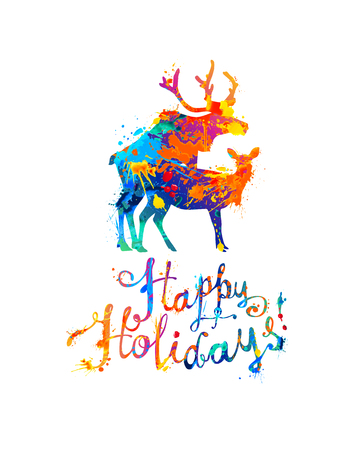 Happy Holidays congratulation card with silhouette of mating deers. Vector splash paint Ilustração