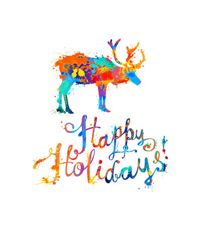Happy holidays card with reindeer. Hand writing watercolor splash paint lettering
