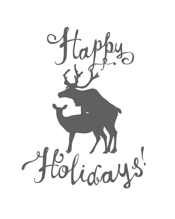 Happy Holidays congratulation card with silhouette of mating deers. Vector flat Ilustração