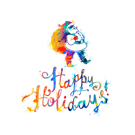 Happy Holidays card with Santa Claus. Hand writing watercolor splash paint letters