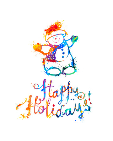 Happy Holidays card with Snowman. Hand writing. Splash paint lettering Illustration