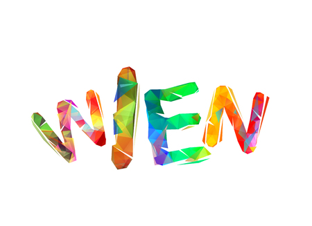 Wien. Vector word of colorful triangular letters Illustration