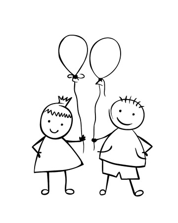 Linear boy and girl with balloons. Little people in the childrens style. Vector couple