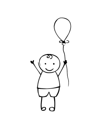 Linear vector boy with balloon. Man in the childrens style. Black on white Illusztráció