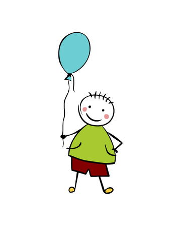 Flat vector boy with balloon. Man in the childrens style
