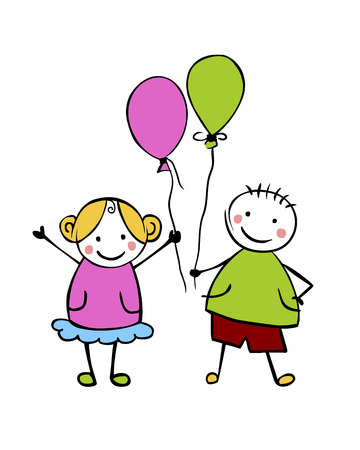 Boy and girl with balloons. Little people in the childrens style. Vector couple Illusztráció