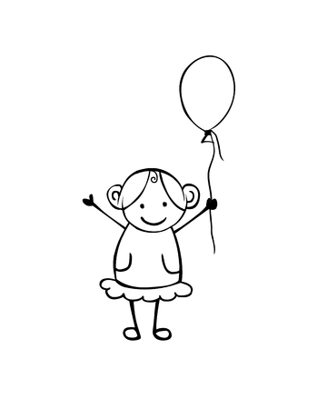 Vector flat girl with balloon in the childrens style. Black on white Illustration