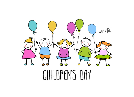 Happy Childrens day. June 1 holiday vector card