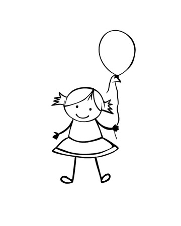 Vector flat girl in the childrens style. Black on white