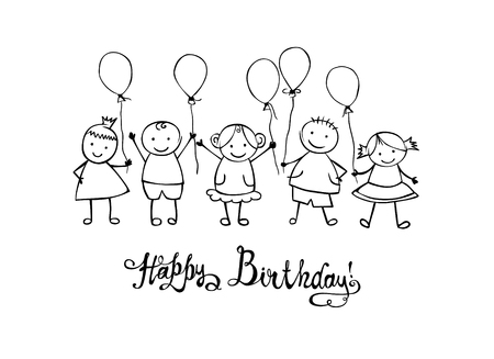 Happy Birthday congratulation card. Hand written vector inscription and childrens with ballons Illustration