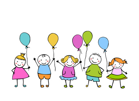 Friends. Boys and girls with balloons. Little people in the childrens style Illusztráció