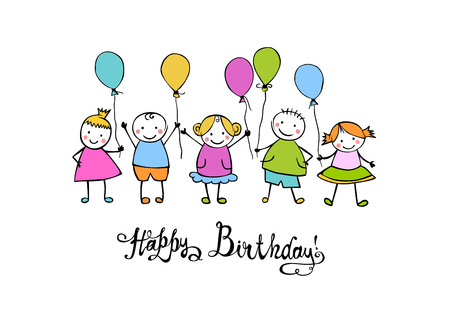 Happy Birthday congratulation card. Hand written vector inscription and childrens with ballons Illusztráció