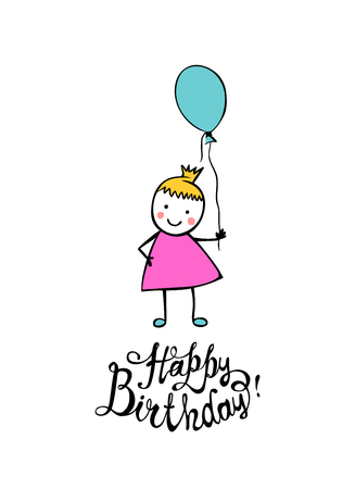 Happy Birthday. Hand written vector inscription and girl with balloon