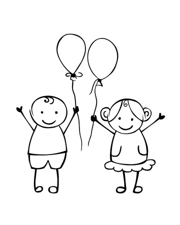 Linear boy and girl with balloons. Little people in the children's style. Vector couple