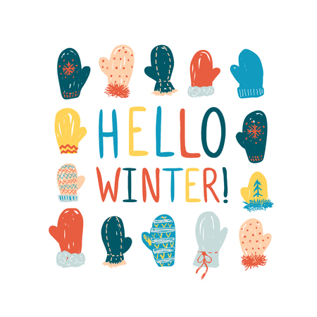 Hello winter. Colorful vector greeting card with doodle mittens Illusztráció