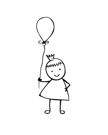 Vector flat girl with balloon in the childrens style. Black on white Illusztráció