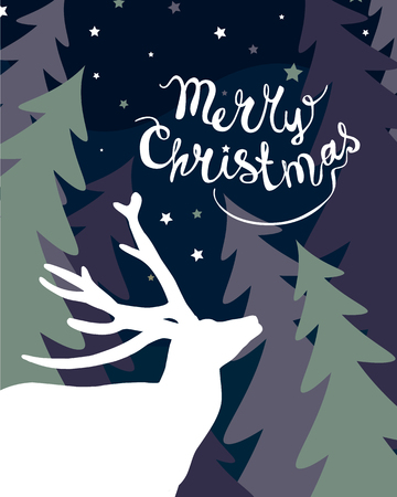 Holiday congratulation card. Merry Christmas. Deer in forest. Vector Illustration