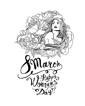 8 march. Happy Women Day. Girl in peony flowers. Vector linear illustration