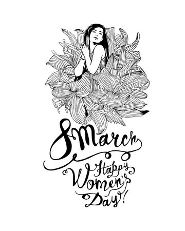 8 march. Happy Women Day. Girl in lily flowers. Vector linear illustration
