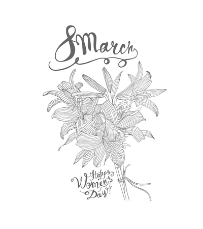 8 march. Happy Women Day. Vector congratulation card with lily bouquet