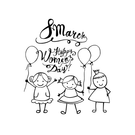 8 march. Happy Women Day. Vector linear girls in the children style Illustration