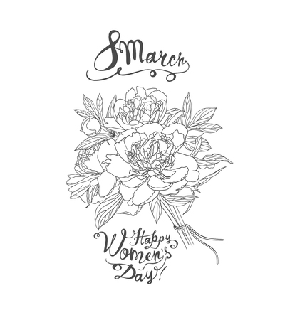 8 march. Women Day. Vector congratulation card with peony bouquet