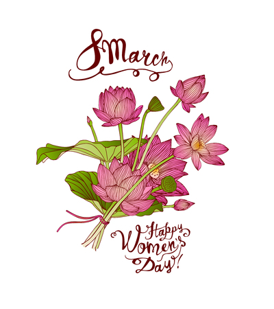 8 march. Happy Women Day. Vector congratulation card with pink lotus bouquet