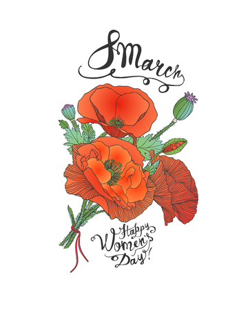 8 march. Happy Woman Day. Vector card with poppy bouquet