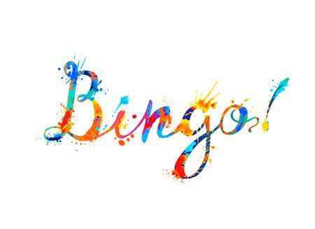 Bingo. Vector watercolor splash paint calligraphic inscription
