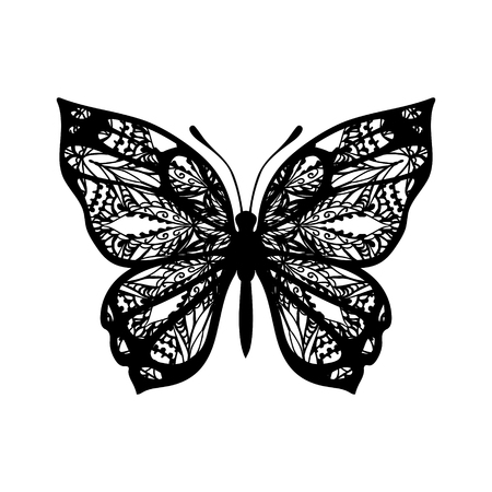 Butterfly with patterned wings. Vector sign for tattoo. Black on white background