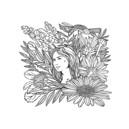 Girl in flowers. Vector linear illustration. Black and white