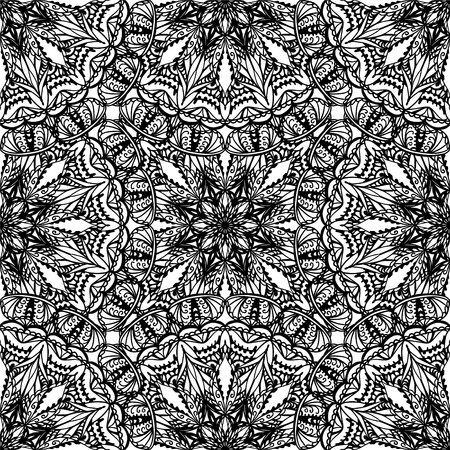 Seamless abstract black and white vector pattern Illustration