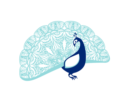 Peacock bird with patterned tail. Flat vector illustration
