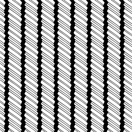 Vector seamless black and white pattern of linear twisted spiral