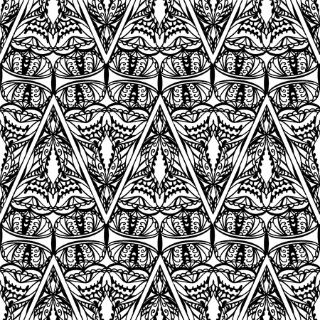 Seamless vector pattern. Abstract ornamental triangles. Black and white background