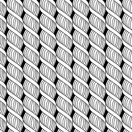 Modèle sans couture de vecteur noir et blanc de spirale torsadée linéaire