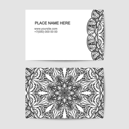 visit card vector template with lace pattern Illustration