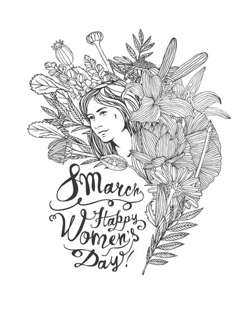 8 march. Happy Women Day. Girl in flowers. Vector linear illustration Illusztráció