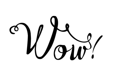 Word WOW. Calligraphic sign black on white