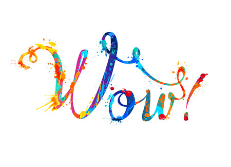 Word WOW. Rainbow splash paint calligraphic sign