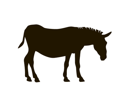 Silhouette of a donkey. Black on white vector illustration